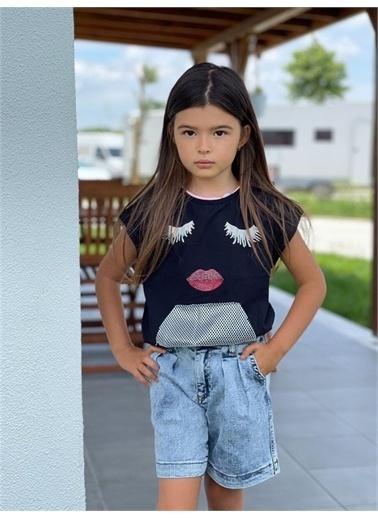Hilal Akıncı Kids Kiz Çocuk Fıle Cep Detayli Bluz Mom Kot Şort Ikılı Takim Siyah